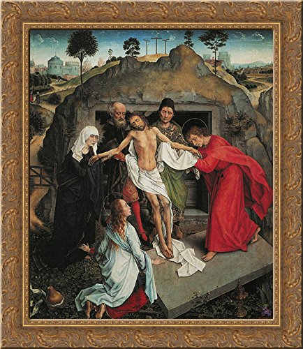 Lamentation Over the Dead Christ 20x20 Gold Ornate Wood Framed Canvas Art by Mantegna, Andrea (Andrea Mantegna The Lamentation Over The Dead Christ)