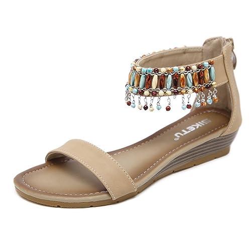 1072fb284ac0 HILEELANG Women s Summer Single Band Beach Sandal Slip On Bohemian Beaded  Zipper Dress Shoes Apricot