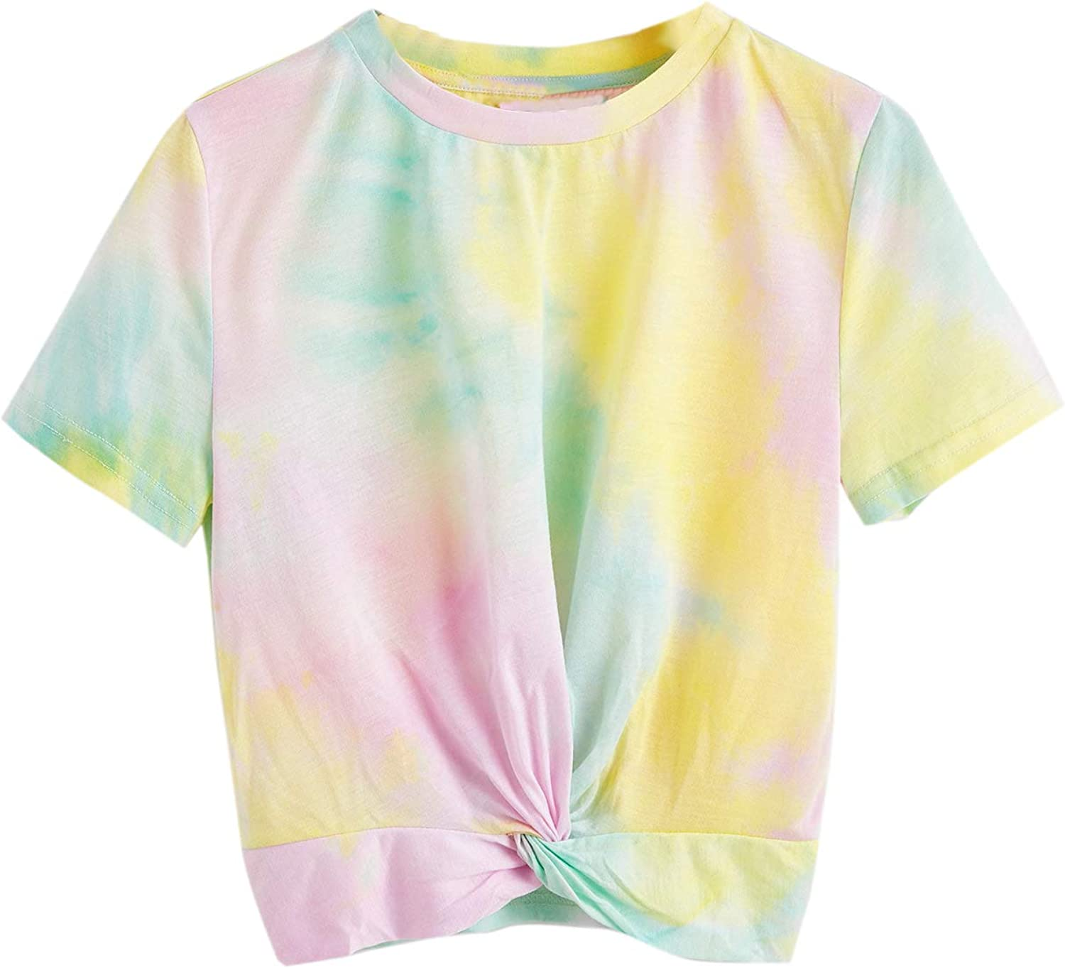SweatyRocks Women's Twist Front Tie Dye Short Sleeve Crop Top T-Shirt