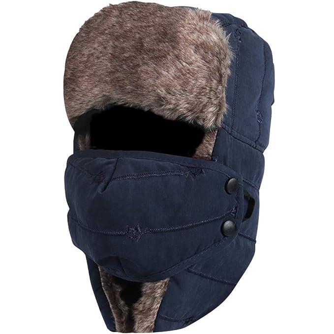 ... Ruso Orejera a Prueba de Viento Piloto Soldado Sombrero Sombrero de Bombardero Transpirable con Máscara para Caza Esquí: Amazon.es: Ropa y accesorios