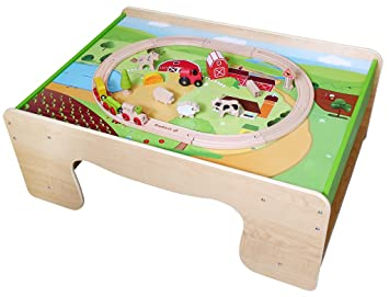 EverEarth Childrens Wooden Train Table And Fram Train Set EE33723