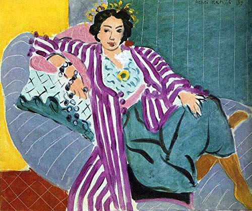 Handpainted Reproduction Henri Matisse 120X100 cm (Approx. 48X40 inch) - Small Odalisque in Purple Robe Figure Paintings Canvas Wall Art Fauves (Wild Beasts) Poster Rolled