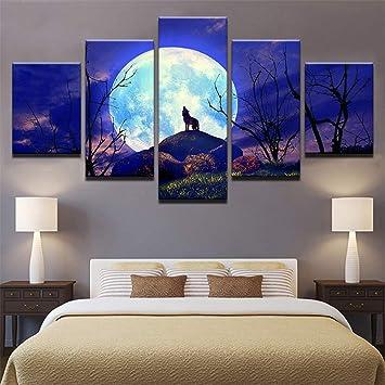 Ughjb Moderne Leinwand Poster Für Wohnzimmer Wandkunst 5 Stück Vollmond  Nacht Wald Tier Wolf Malerei Hd