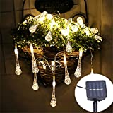 Solar String Water Drop Lights, Vacio Waterproof 30 LEDs Outdoor Indoor String Lamp, Decorative Lights for Christmas Xmas Festival Party Decorations-Warm White
