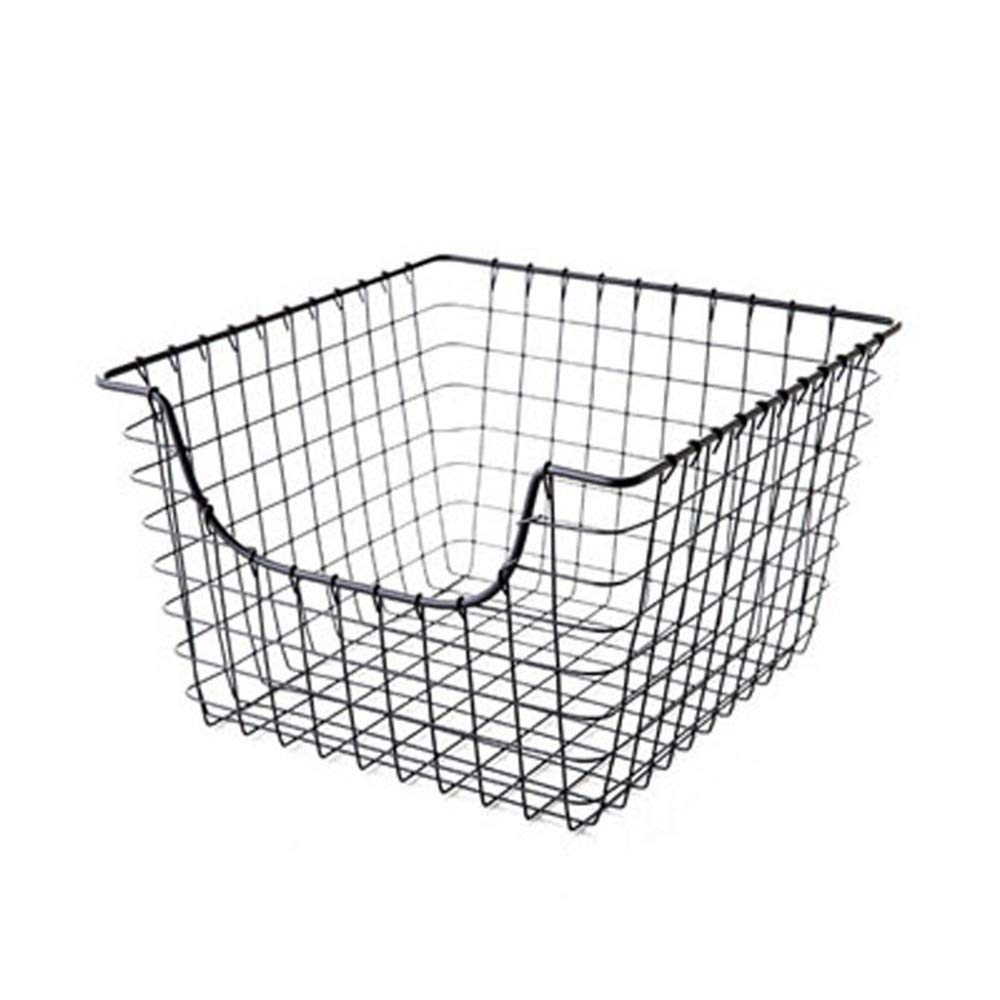 YChoice Rack Decor Japanese Style Simple Wrought Iron Kitchen Vegetable Storage Basket Bathroom Storage Basket Desktop Wardrobe Finishing Rack (Size : Big)