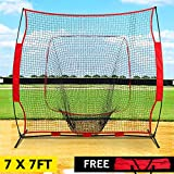 GARTIO 7'×7' Baseball Softball PracticeNet, Hitting & Pitching Batting Fielding Training Equipment with Carry Bag, Portable Easy Setup, Suit for Team or Solo All Skill Levels Training Indoor Outdoor