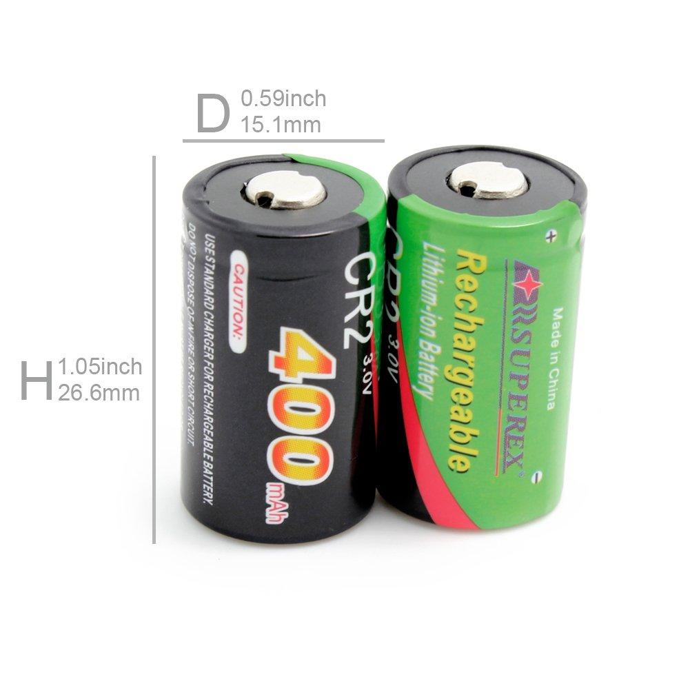 SUPEREX® 2PCS 3volt 400 mAh CR2 15270 Battery + Car Charger Dual Rapid Rechargeable Battery Charger for 3V CR2 Lithium Batteries
