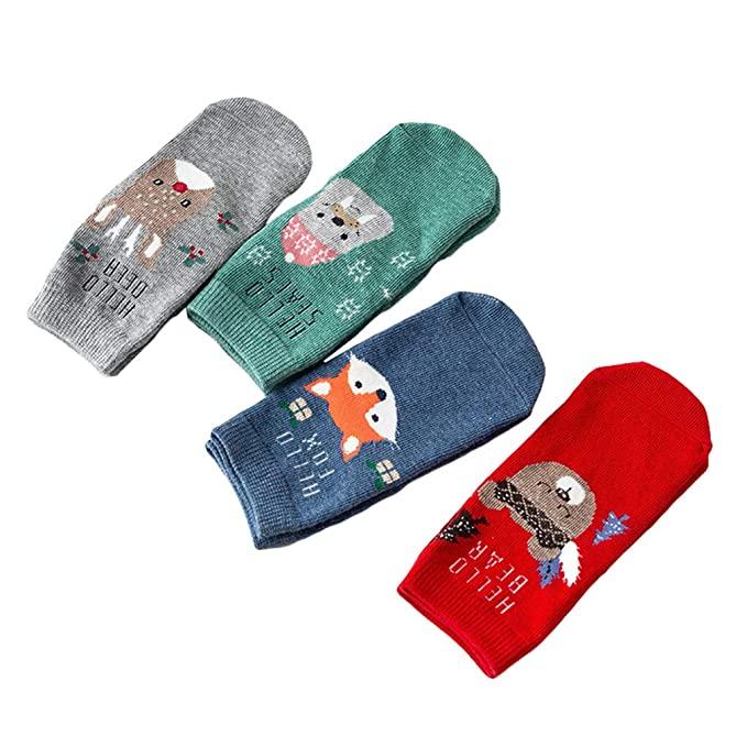 Mxssi 4Pairs/Lot Sweet Cute Papá Noel Christmas Elk Warm Cute 3D Animal Patrones Calcetines