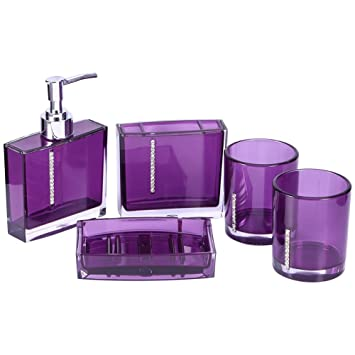 yosoo 5 piece acrylic bathroom accessory set luxury bath accessories bath set lotion bottles toothbrush