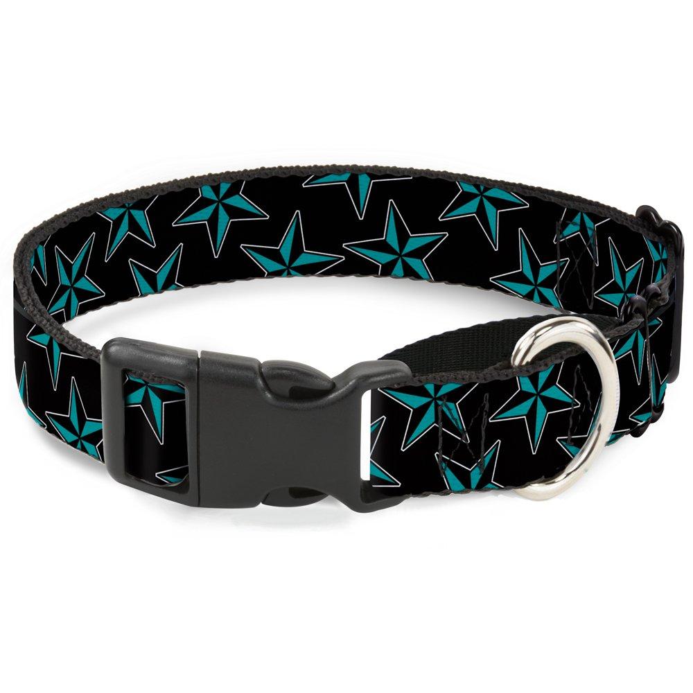 Buckle-Down MGC-W31433-WM Nautical Stars Scattered Black Turquoise Martingale Dog Collar, Medium