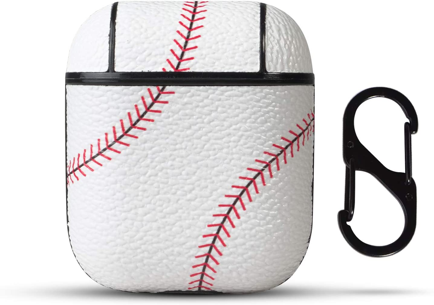 HIDAHE Case for Airpods 2 Case, Apple 1 Airpods Case Cover, Cute Baseball Protective Cover with Keychain Case Compatible with Airpods 1/2, Cool Baseball
