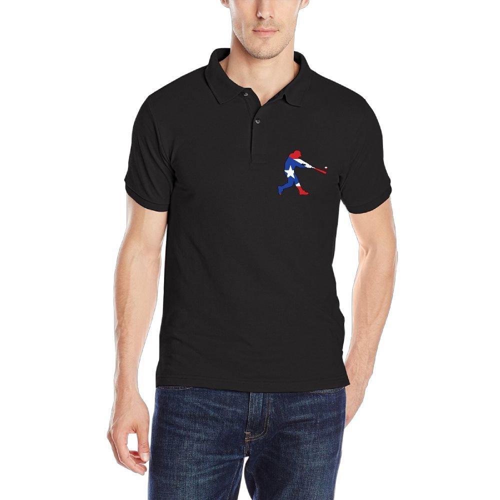 Puerto Rico Flag Baseballer-1 Mens Short Sleeve Polo Shirt Classic-Fit Blouse Sportswear