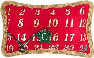 OiseauVoler Advent Calendar Throw Pillow Cover Christmas Cushion Case Pillowcase Xmas Couch Bedroom Home Decor 14 x 24 Inch Red