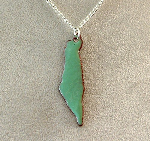 State of Israel in Mint Green Copper Enameled Pendant Necklace