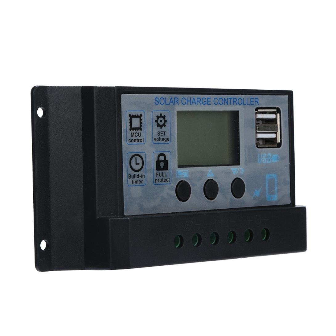 USB 60A 12V-24V Charge Controller with Dual USB Port Charger and LCD Digital Display - Solar Panel Regulator Battery Charge Controller 60A (Silver)