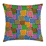 Queen Area Modern Ethnic Africa Tribal Geometric Mosaic Like Design Colorful Vivid Lineswork Square Throw Pillow Covers Cushion Case Sofa Bedroom Car 18x18 Inch, Multicolor