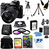 Sony 24.3 MP a7K ILCE-7K/B ILCE7 ILCE7KB Full-Frame Interchangeable Digital Lens Camera with 28-70mm Lens Bundle with 64GB SDXC Memory Card, NP-FW50 Camera Battery, Carrying Case, Tripod and more