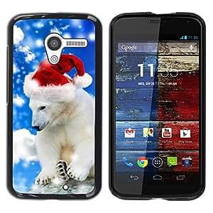 Caucho caso de Shell duro de la cubierta de accesorios de protección BY RAYDREAMMM - Motorola Moto X 1 1st GEN I XT1058 XT1053 XT1052 XT1056 XT1060 XT1055 - Polar Bear Winter Santa Hat Christmas Snow