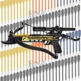 Crossbow Self-Cocking 80 LBS by KingsArchery® with Hunting Scope, 3 Aluminium Arrow Bolts, and Bonus 120-pack of Colored PVC Arrow Bolts + KingsArchery® Warranty