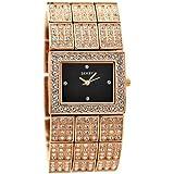 Seksy Bling Schwarzes Zifferblatt Swarovski Kristalle Rosen-Gold Edelstahl Armband Damenuhr 4858
