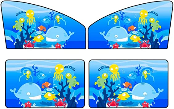 Cuque 4Pcs Car Front Rear Side Window Curtain Coated Silver Fabric Cartoon Windshield Sunshade Magnetic Adsorption Auto Sun Shade Visor Resist 99/% Light and UV