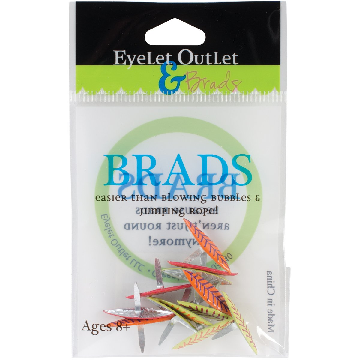 Eyelet Outlet Shape Brads, Leaves Bright, 12-Pack QBRD2-63A