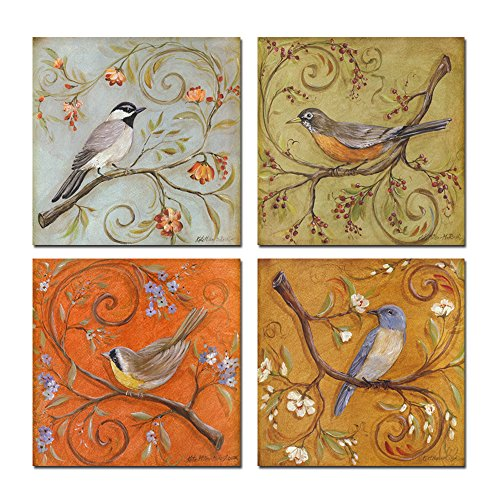 (Sea Charm- Gallery Wrapped Canvas Wall Art Set of 4 Birds on Tree Branch Blooms Painting Print on Canvas Animal Canvas Art Home Decor)