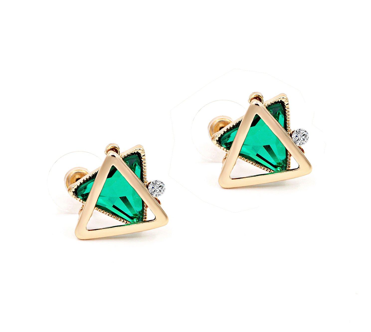 Zealmer Triangle Crystal Earrings Geometric Green Rhinestone Stud Earrings Gift for Women Valentine's Day
