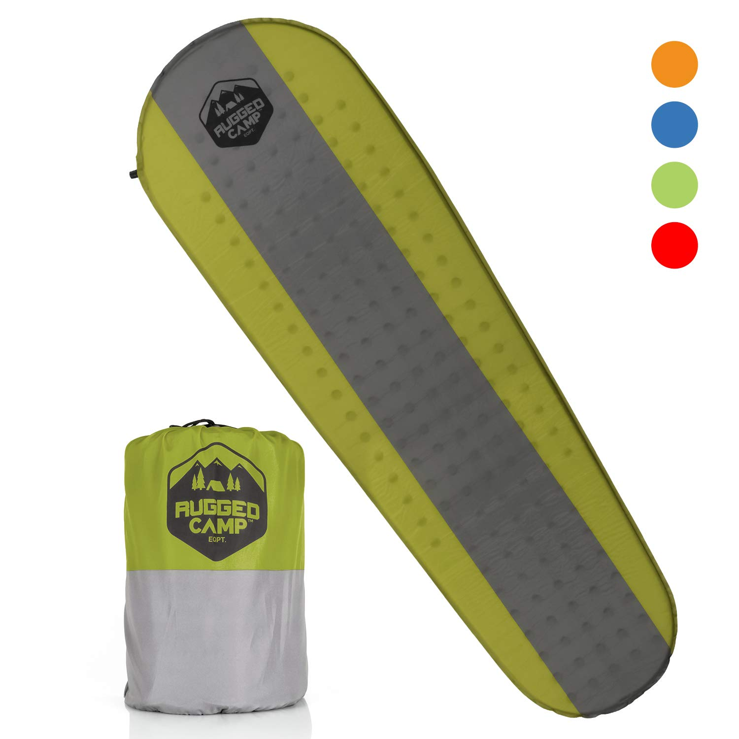 Rugged Camp Self Inflating Sleeping Pad - Sleep Comfortably in The Outdoors - Camping Gear and Accessories for Hiking, Backpacking, Travel - Lightweight and Compact Camping Mat (Green) by Rugged Camp