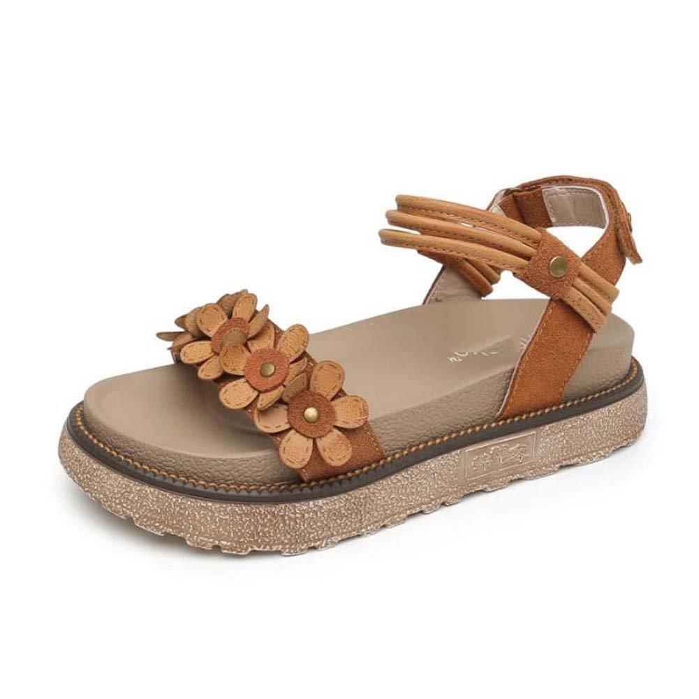MYI Frauen Plattform Sandalen Dicken Boden Schuhe Wildblumen Retro Rouml;mischen Schuhe Kamel Farbe/Khaki Grouml;szlig;e 34-43  42 EU|Camel Colur