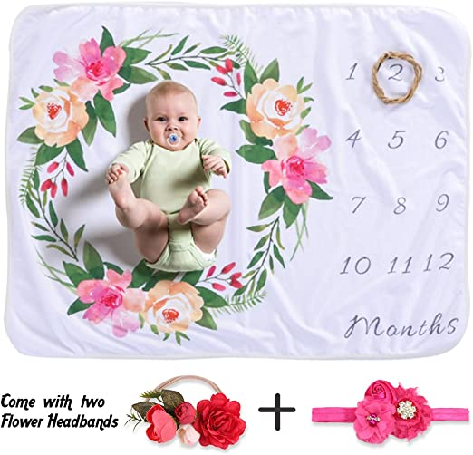 Pink Monthly Milestone Blanket for Infant Baby Milestone Blanket for Girls Boys Newborn Infant Photo Prop New Mom Baby Shower Gifts Baby Monthly Milestone Blanket with Bonus Floral Wreath