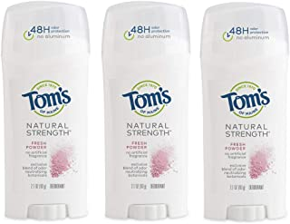 product image for Tom's of Maine Natural Strength Deodorant, Deodorant for Women, Natural Deodorant, Fresh Powder, 2.1 Ounce, 3-Pack