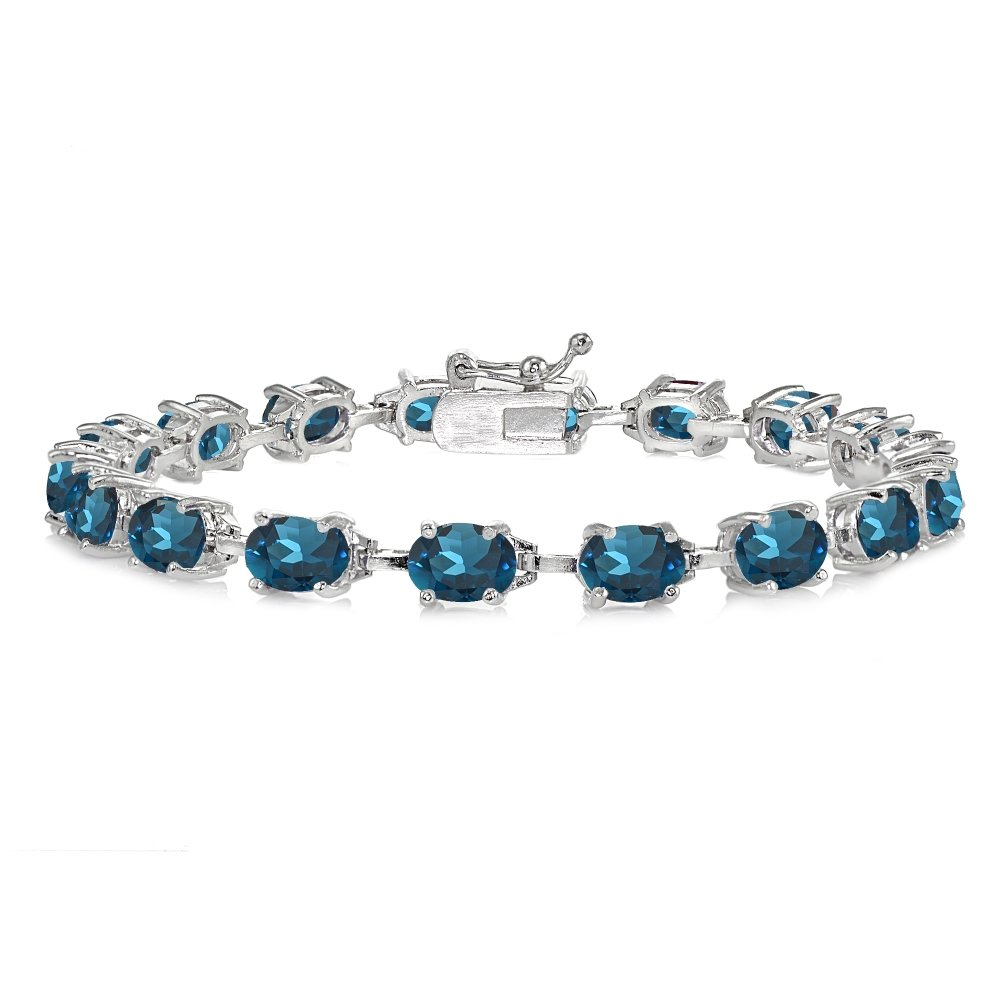Sterling Silver London Blue Topaz 7x5mm Oval Classic Link Tennis Bracelet