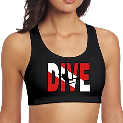 Vintage Distressed Dive Flag Scuba Diving Women's Racerback Sports Bras for Yoga Running Gym Workout Fitness