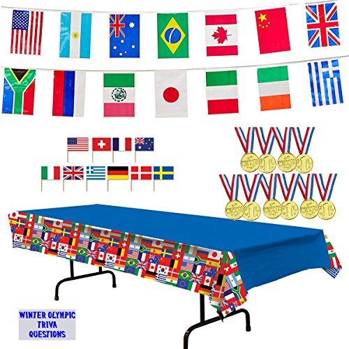 International Flags Tablecover, 23 ft Pennant Flag Banner, 12 Toy Gold Medals, Toothpick Flags (50), and Winter Olympic Trivia Questions