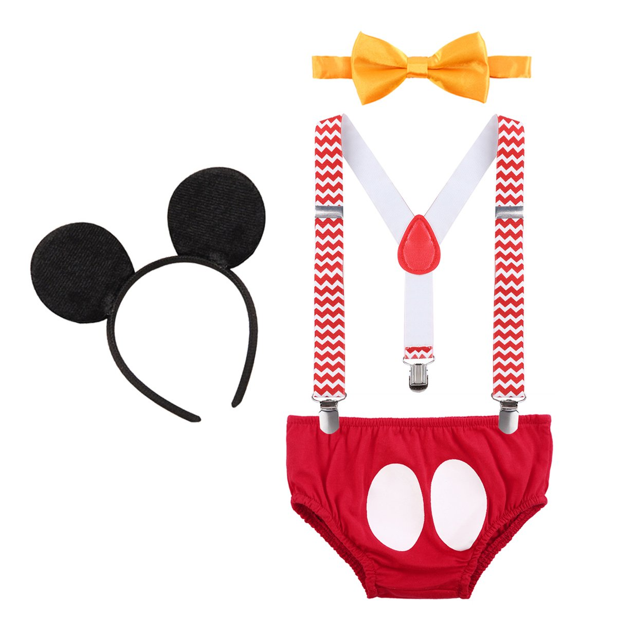 Newborn Baby Boys Girls Cute Mouse 1st Birthday Halloween Costume Cake Smash Bloomers Shorts + Adjustable Y Braces/Suspender + Bow Tie + Ears 4PCS Outfit Photo Shoot