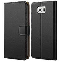 HOOMIL Samsung Galaxy S6 Edge Case [Slim Fit] Premium Leather Case for Galaxy S6 Edge Phone Cover (Black)