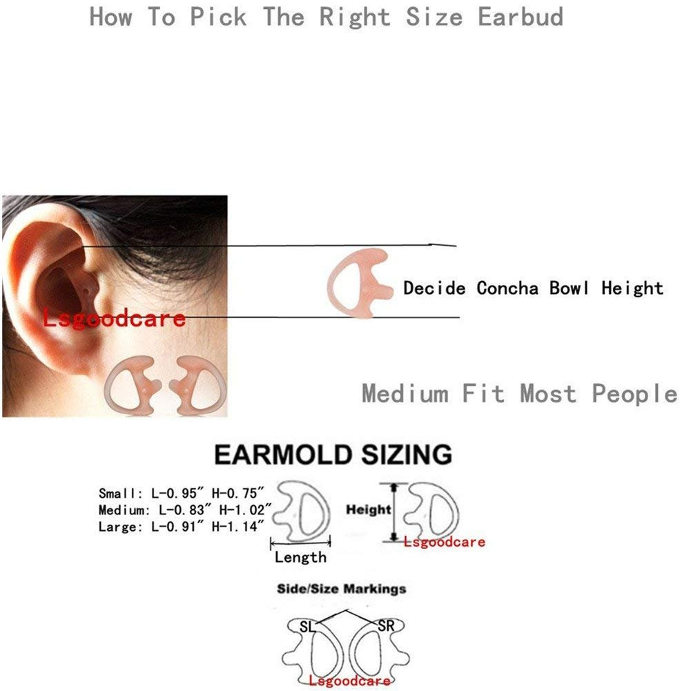 Left Ear Two Way Radio Replacement Ear Mold Open Ear Insert Ear Bud,Lsgoodcare 3 Pairs Silicone Earmold Earbud Medium Pink Soft Ear Piece Compatible for Motorola Kenwood Acoustic Coil Tube Headset