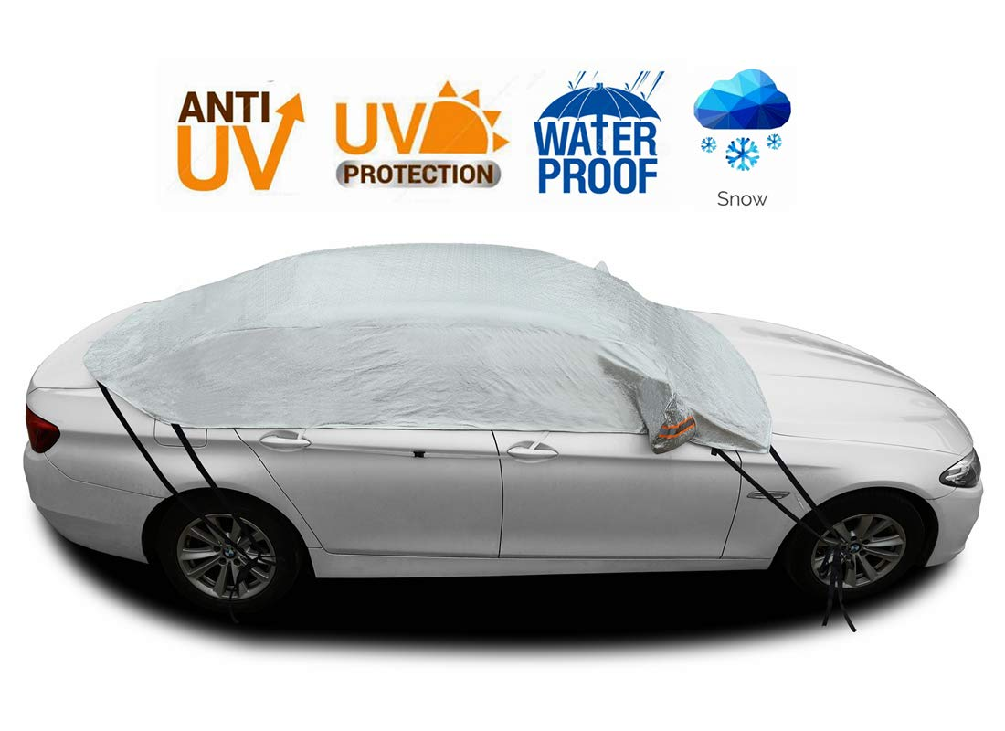 Safe View Half Car Cover Top Waterproof All Weather//Windproof//Dustproof//Windshield Cover Snow Ice Winter Summer for Sedan SUV SUV YM 171-183