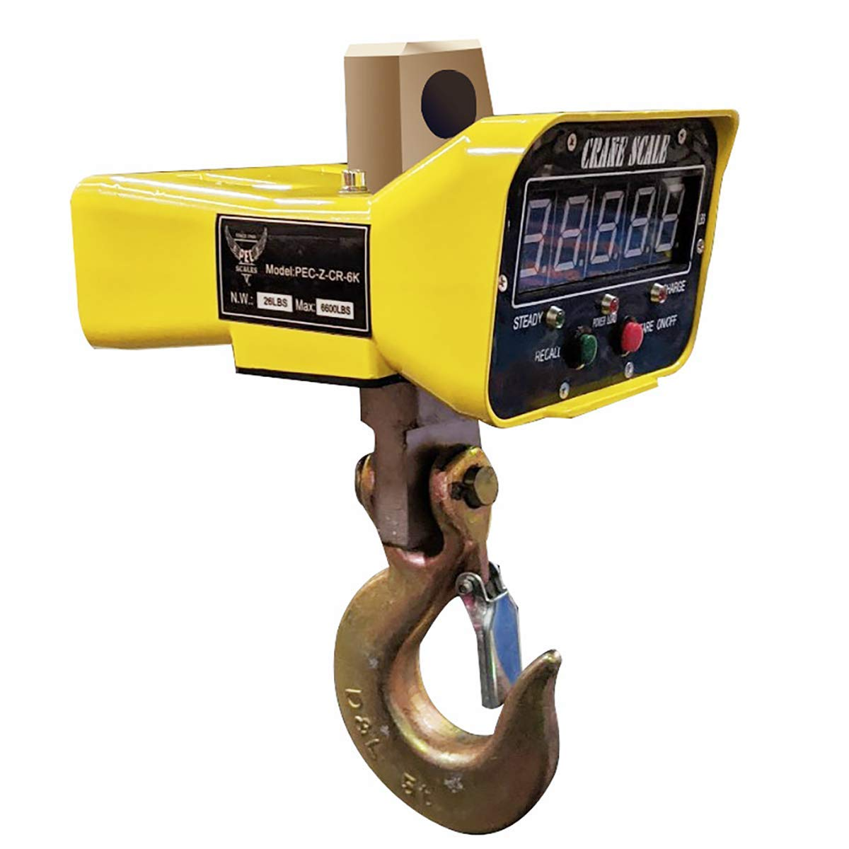 PEC New Digital Crane Scale, Heavy-Duty Industrial Hanging Scale, Commercial Scales with Large LED Display, Weighing Capacity (6600 lb)
