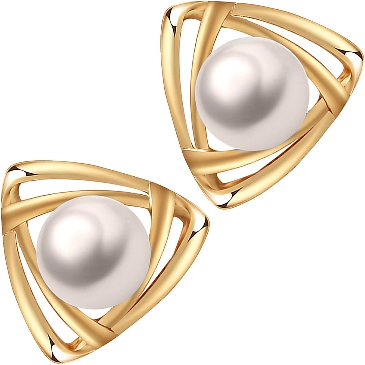 GWG Jewellery Pendientes Mujer Regalo Pendientes de Botón, Chapados en Oro Rosa 18K con Perla Colorada en Triángulo Insólito para Mujeres