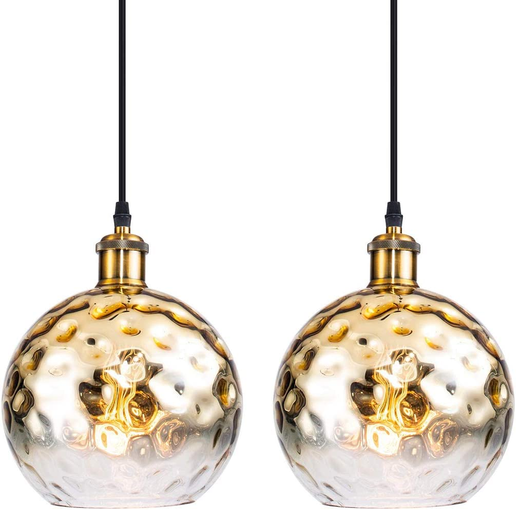 Modern Brass Globe Pendant Light with Hammered Glass Shade, Adjustable Cord Contemporary Pendant Ceiling Lighting Fixture for Kitchen Island Living Room Bedroom Bar, 8in, Gold, 2 Pack