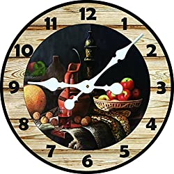 Decro Home Large Shabby Round Wall Clock Vintage Fruit And Blue Hands Pattern-16
