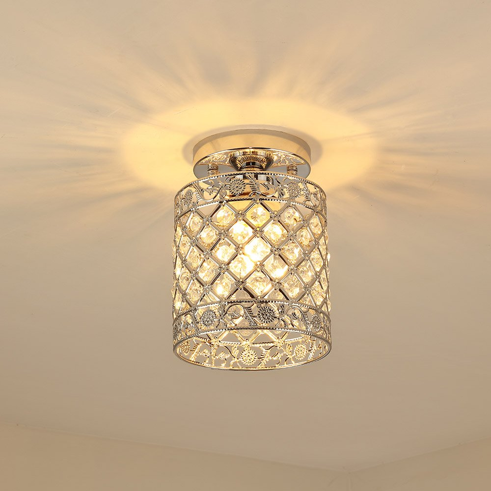 Create for Life Mini Style Modern Decor Crystal Flush Mount Ceiling Light Fixture Crystal Chandeliers Light Ceiling Lamp for Hallway, Bar, Kitchen, Dining Room, Kids Room (6 inch)