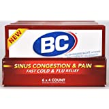 BC Sinus Congestion & Pain Fast Cold & Flu Relief  4 Powder Sticks per box, 6 boxes Per Tray.
