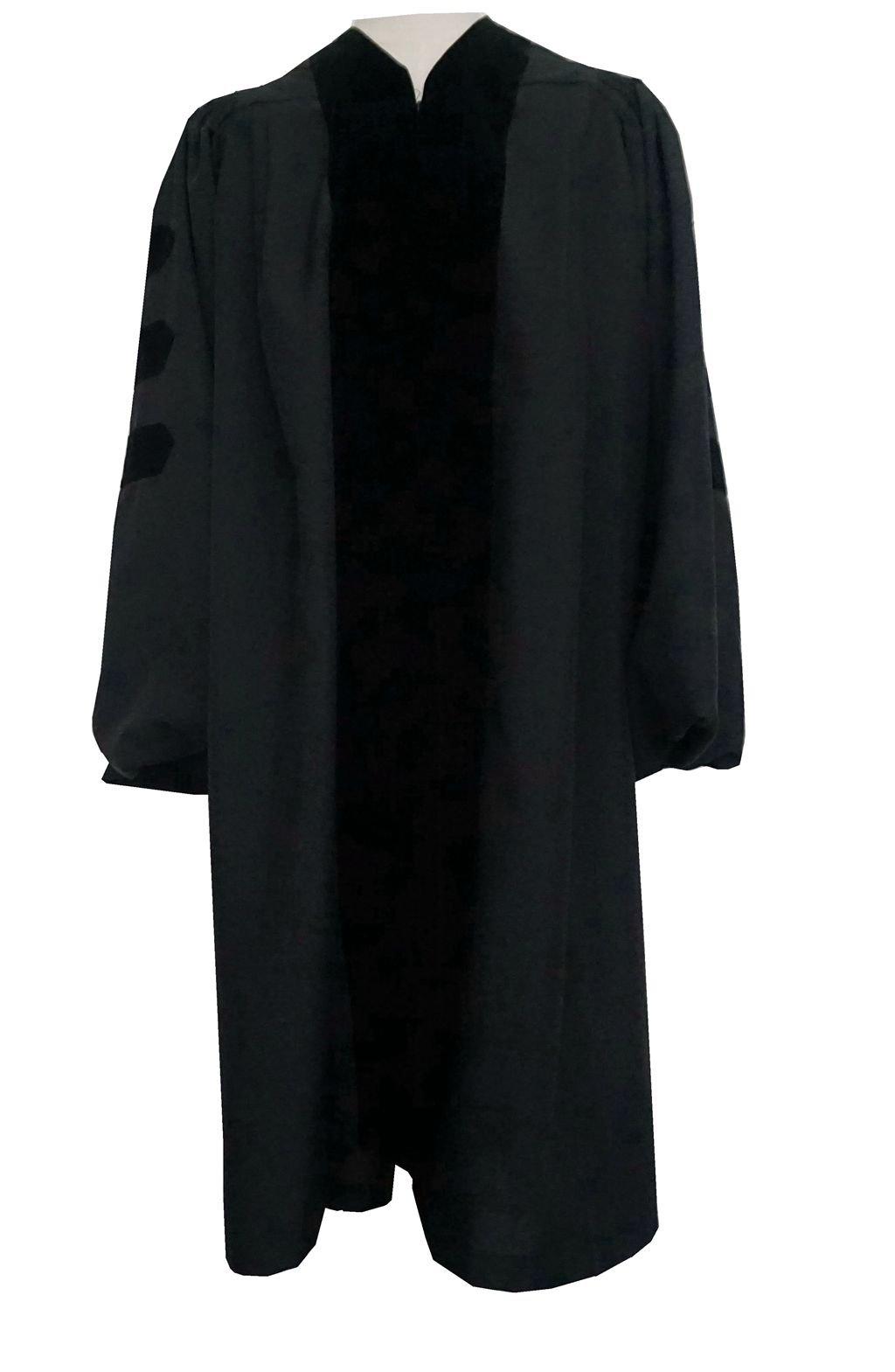Doctoral Robe Unisex Deluxe Black Velvet Grad Days(BLk48)