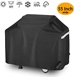 Hisencn BBQ Grill Cover 55 Inch Heavy Duty Waterproof Barbecue Gas Grill Cover for 3 to 4 Burner Cover for Weber, Charbroil, Nexgrill, Brinkmann, Char Broil, Dyna-Glo, Kenmore and More