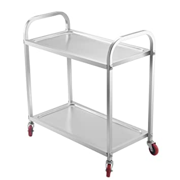 Mophorn 2 Shelf Stainless Steel Cart With Storage Utility Cart On Wheels  Heavy Duty Kitchen Cart