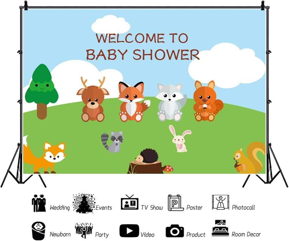 Yeele Cartoon Baby Shower Backdrop 10x6.5ft Forest Animals Fox Rabbit Hedgehog Photography Backdrop Baby Shower Banner Newborn Baby Artistic Portrait Event Decor Room Decoration Photo Booth Prop