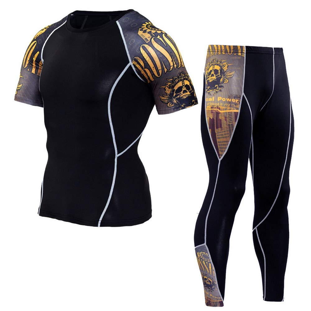 4 Large HOOLAZA Men Compression Short Sleeve TShirt and Tights Short Sleeve Tops+Pants Sports Tracksuits